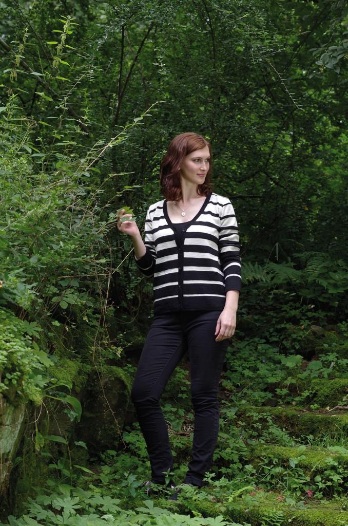 Cardigan schwarzweiss gestreift-2